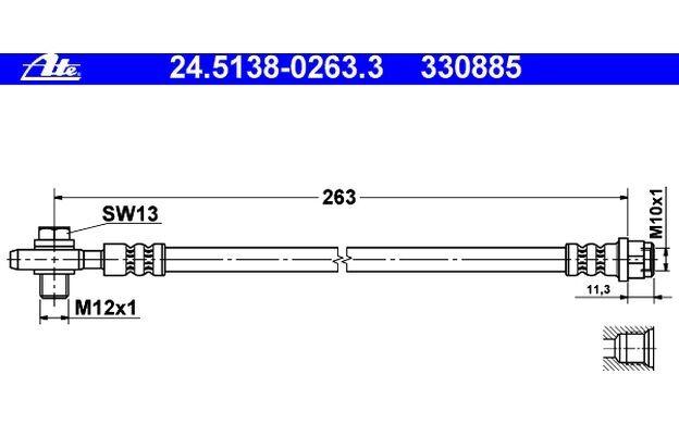 ATE Tubo flexible de frenos SEAT EXEO AUDI A4 24.5138-0263.3