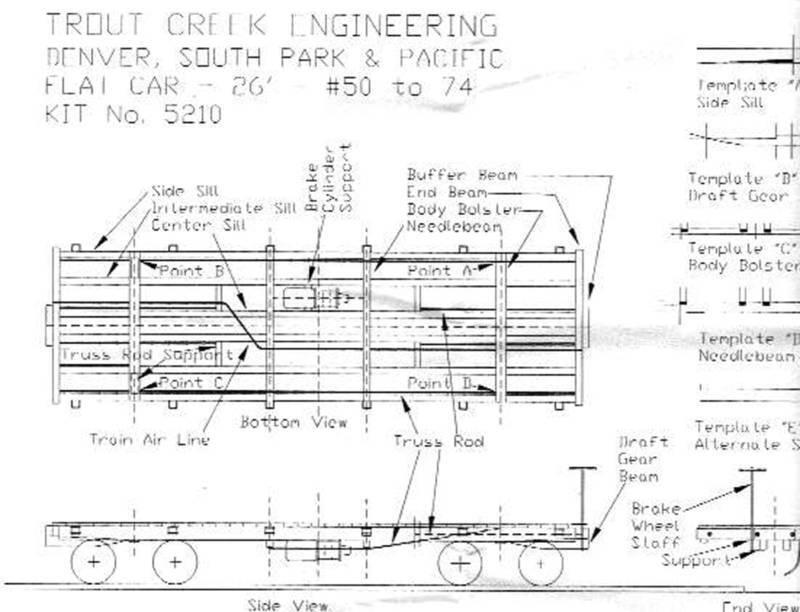 DSP&P FLAT CAR 1ST SERIES On3 On30 Railroad Craftsman Wood Kit TC7210