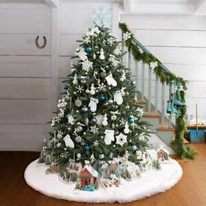 Christmas-Long-Snow-Plush-Tree-Skirt-Base-Floor-Mat-Cover-Xmas-Party-Decor-FER