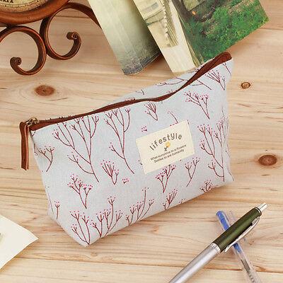 Vintage Flower Floral Pencil Pen bag Cosmetic Makeup Storage bag Case Purse FE