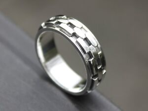 Men-039-s-925-Sterling-silver-Celtic-Chain-Spinner-ring-7mm-band-Gift-for-him