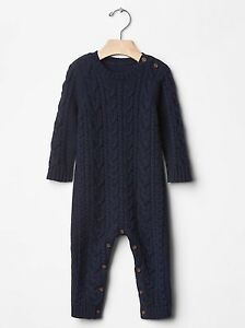 GAP Baby Toddler Boy 18-24 Months Navy Blue Cable Knit One-Piece Sweater Romper