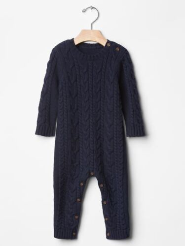GAP Baby Toddler Boy 12-18 Months Navy Blue Cable Knit One-Piece Sweater Romper