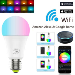 Smart-WiFi-E27-7W-LED-Gluehbirne-Birne-Lampe-Licht-Fuer-Amazon-Alexa-Google-App