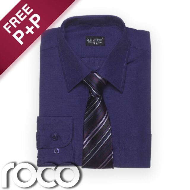 Boys Purple Shirt, Cadbury's Purple, Shirt & Tie Set, Boys Dress Shirts
