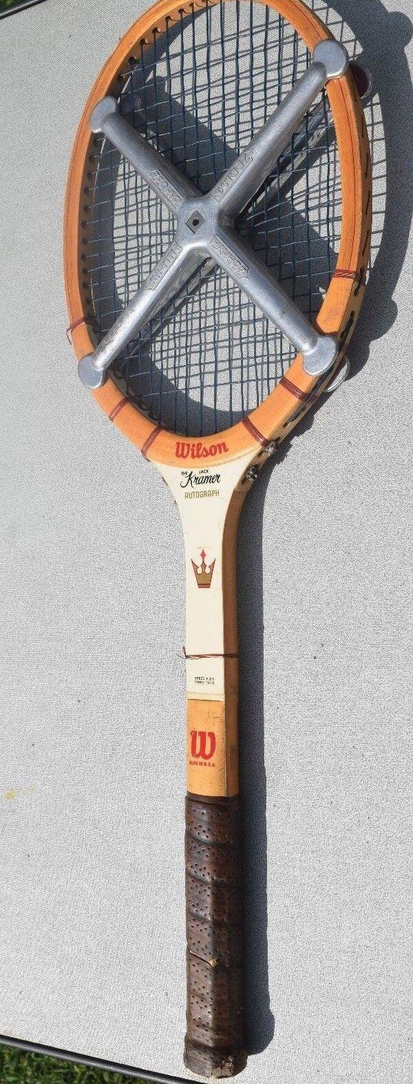 Vintage Raqueta Wilson Raqueta De Tenis Madera Jack Kramer autógrafo década de 1960 Made Usa