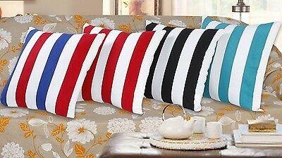 """STRIPES OR CROWN CUSHION COVER PILLOWCASES SIZE 18X18"""" BLACK RED TEAL BLUE WHITE"""