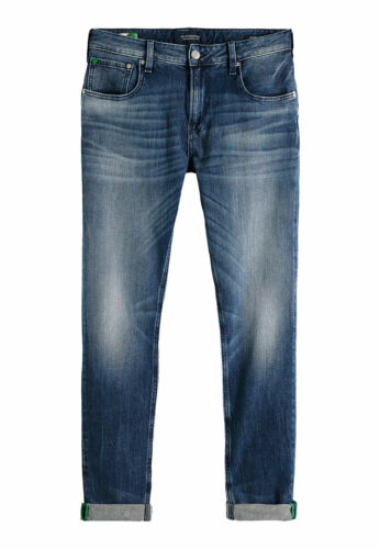 Scotch /& Soda Hommes Jeans Skim 151096 Bleu 2976 washed up