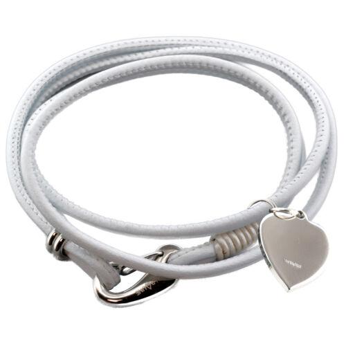 925 Silber Herz Graviert Anhänger Damen Grau//Schwarz//Weiß Nappaleder Armband