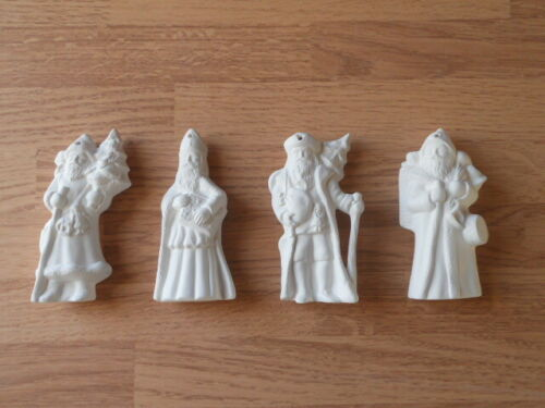 Victorian Santa Christmas Ornaments Ceramic Bisque U Paint C-0799 Set of 4