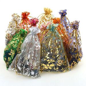 100stk Bunt Organzabeutel Organzasäckchen Jewelry Bag Hochzeit Tasche