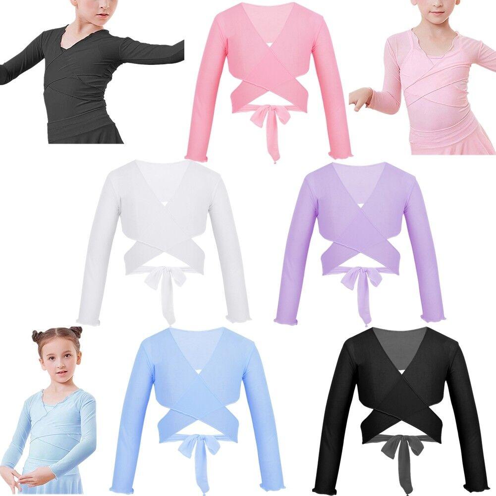 Kids Girls Ballet Dance Mesh Wrap Top Adjustable Tie Shrug Dancewear Cardigan