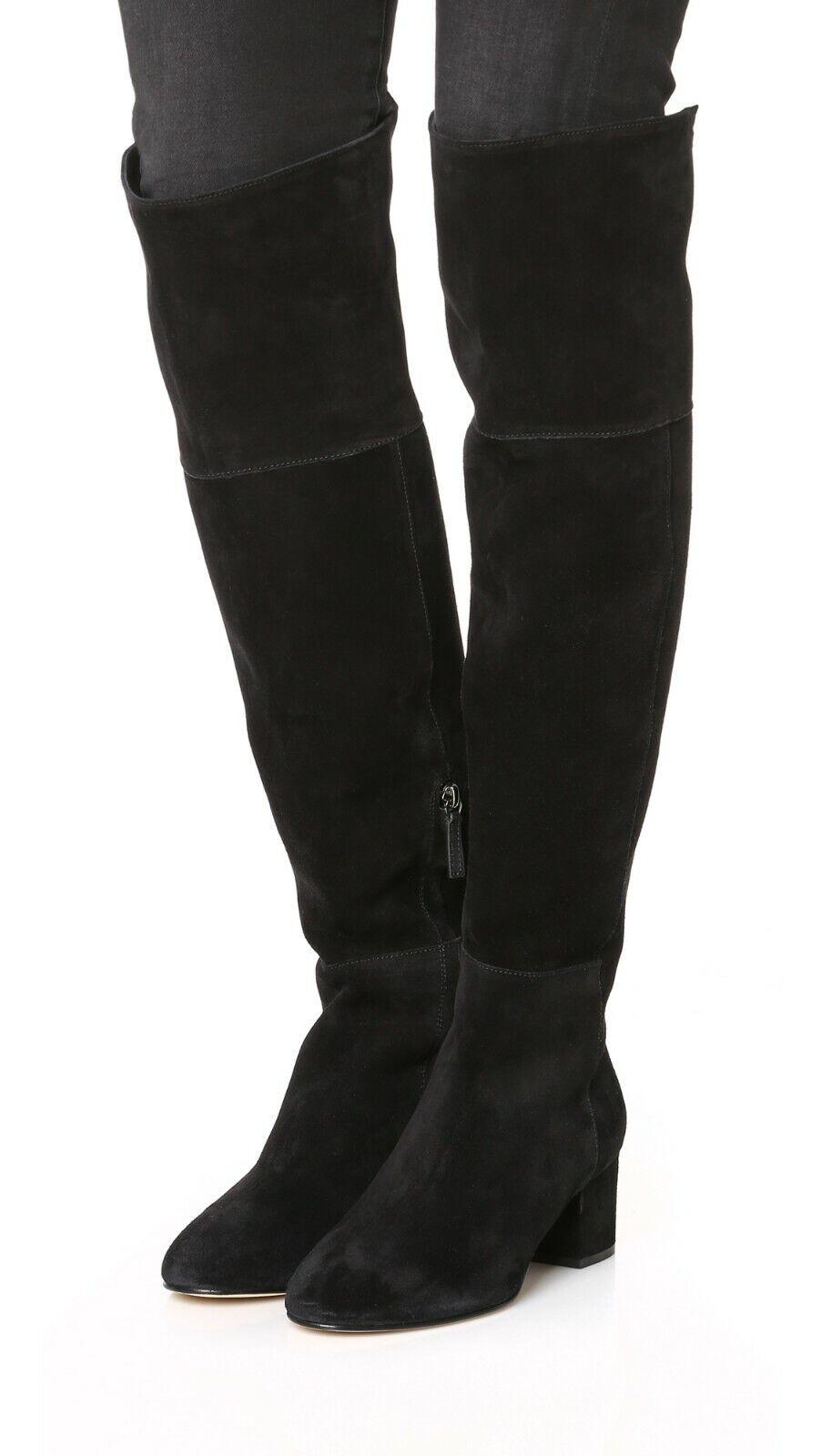 CLUB MONACO Black Suede Knee High Boots Heels women's Boots US 6 EU37