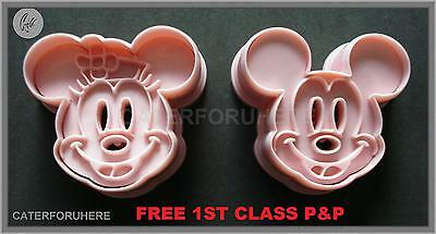 MICKEY & MINNIE MOUSE BISCUIT COOKIE CUTTER EMBOSSER SET DISNEY CAKE DECORATING