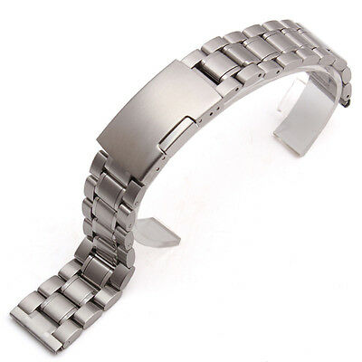Solid Stainless Steel Strap Watch Band With Push Button Lock Buckle For Seiko