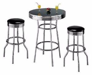 Retro 3 Piece Chrome Bar Stools And Table Set Ebay