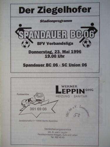 SC Union 06 Programm 1995//96 Spandauer BC