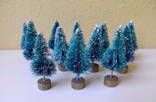 12 Mini 1 (1.5 w base) Sisal Bottle Brush CHRISTMAS TREES Snow Frost Village