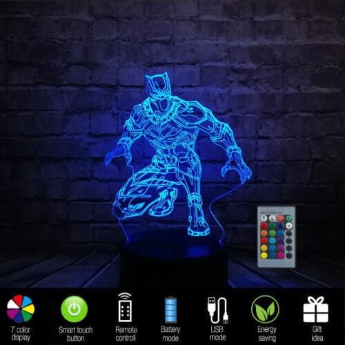 Kids Cartoon Night Light USB Touch Sensor Black Panther RGB LED 3D illusion Lamp