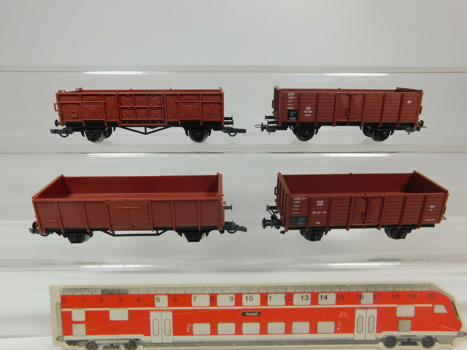 AQ891-1x Piko H0 DC Güterwagen NEM  35-01-10 DR+702 893 Om 04 DB etc