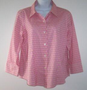 Talbots Pink Horse Bit Chain Pattern LS Blouse Women's Sz 10 Petite Stretch