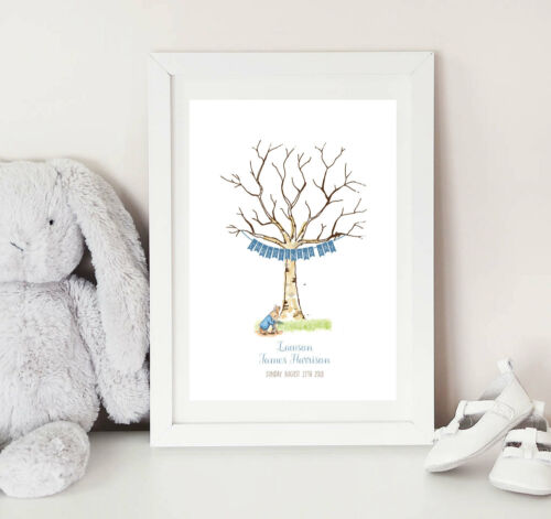 Peter Rabbit and Bunting Fingerprint Tree keepsake Guest book alternative