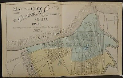 Spirited Ohio Ashtabula County Map City Of Conneaut 1905 2-dbl Pg !w16#27 Maps, Atlases & Globes North America Maps