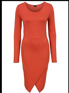 Kaleidoscope-BodyFlirt-Size-14-16-Simply-Fab-Rust-Jersey-Wrap-DRESS-Stylish
