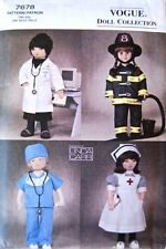 """Vogue 7678 18"""" Doll Clothes Pattern Uniforms Nurse Doctor Firefighter by Carr"""