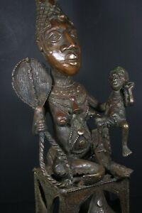 Large-26-034-African-BENIN-Bronze-IFE-Fertility-Royal-Queen-Mother-Nigeria-Benin