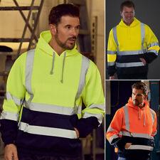 Mens Hi Vis High Visibility Hoodie Jacket Coat Safety Reflective Work Vest Tops