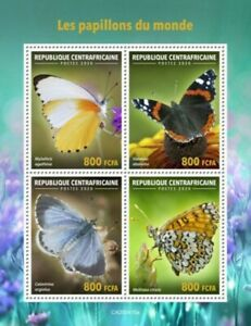 Central Africa - 2020 Butterflies of the World - 4 Stamp Sheet - CA200415a