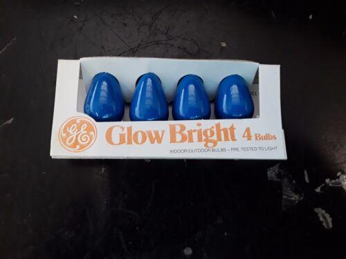 Vintage GE Glow Bright C7 Blue Bulbs NOS