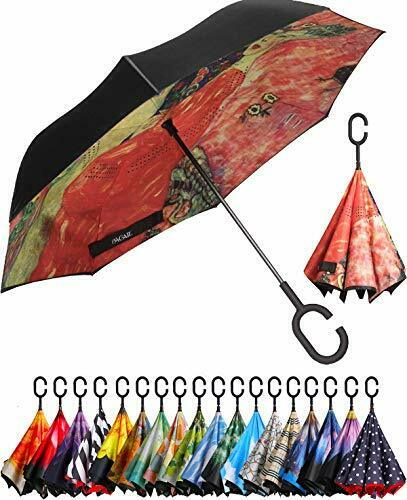Double Layer Inverted Umbrella Reverse Folding Windproof Protection Big Straight