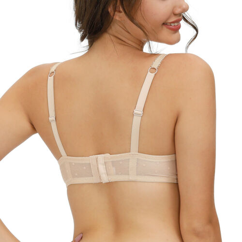 Women Lace Unpadded Bra Underwired Mesh Spot Sheer Plus Size Underwear 32-44 B-F