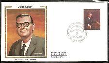 Canada Scott # 914 Jules Leger 26th Governor General FDC . Colorano silk Cachet