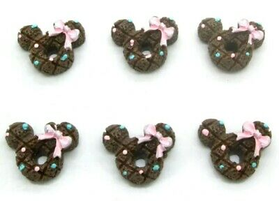 8PC Mickey Mouse Flatback Embellishment Scrapbook Hair Bows Cupcake Toppers DIY