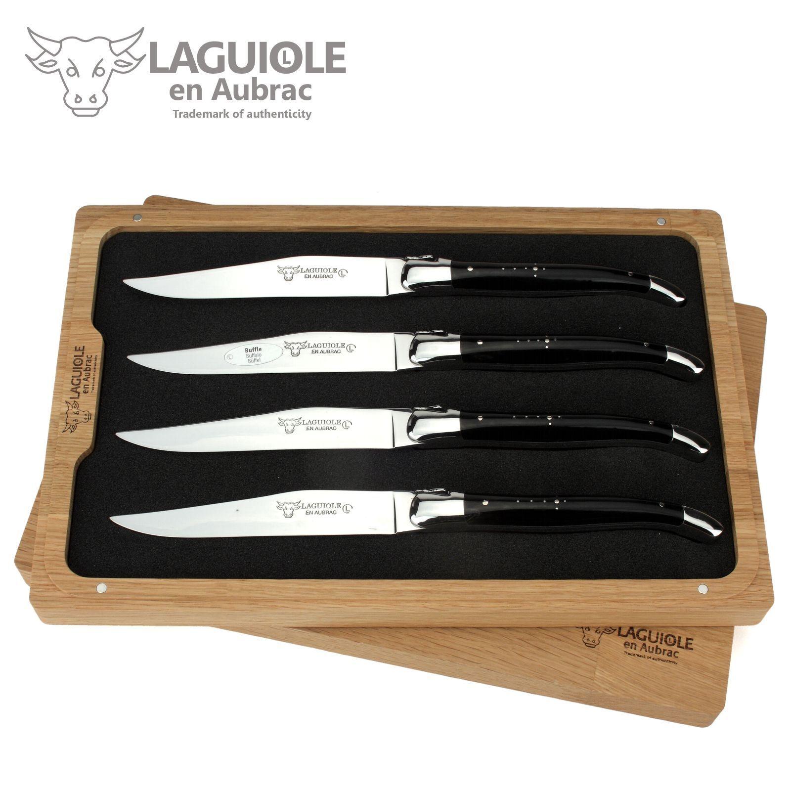 Laguiole en Aubrac - 4er set-couteau à viande France-büffelhorn-Couteau de table