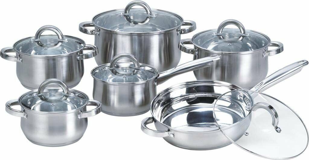 Nouveau Juego De Ollas Y. Cacerolas De Cocina Set de 12 piezas De Acero inoxidable