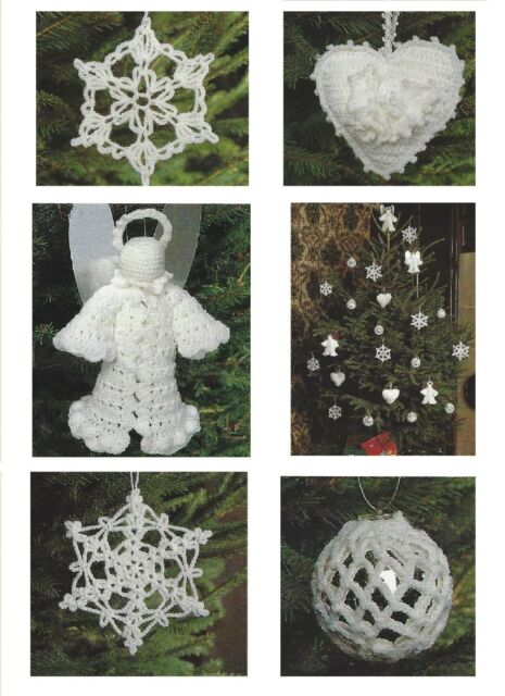 Christmas Tree Decorations Crochet Patterns Fairy Star Heart Angel
