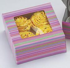 3 scatole per cupcake Wilton a righe MUFFIN BISCOTTI ogni scatola contiene 4 Cupcake