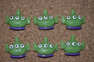 Set of 6 CUTE ALIEN bulletin board pushpins, thumbtacks, or magnets