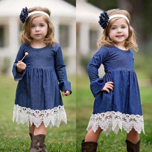 Toddler Kids Baby Girls Long Sleeve Pageant Party Princess Denim Dress Sundress