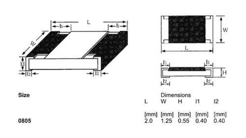 100x SMD 0805 Widerstand 22Ω 1/% 0,125W 150V ROYAL OHM 0805S8F220JT5E