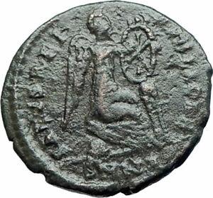 EUDOXIA-Arcadius-Wife-401AD-Ancient-Roman-Coin-VICTORY-Christian-CHI-RHO-i78130