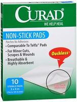 Curad Non-stick Pads 3 Inches X 4 Inches 10 Each on sale