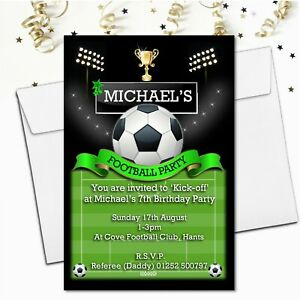 Details About 10 Personalised Boys Football Pitch Soccer Birthday Party Invitations N108