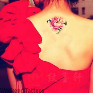 05d433cf76fc6 Small Lotus Pink Neck Flower Neck Arm Back Temporary Tattoo Sticker ...