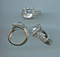 925 3.25 Ct Cushion Cut Signity Cz Art Deco Look Halo Engagement Ring Size 7.75
