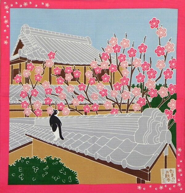 Japanese 12 Seasons in Kyoto Tama The Cat Furoshiki Scarf 'Ume' Plum Blossoms
